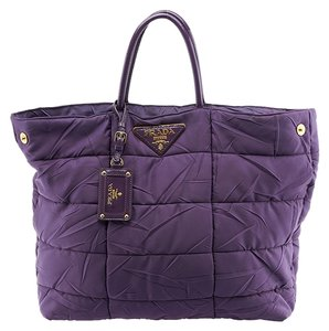 Prada Nylon Shoulder Tote in Purple