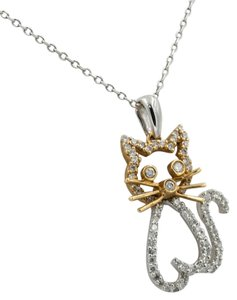 Other .33 Ct Diamond 18 Kt White & Yellow Gold Kitten Pendant Necklace