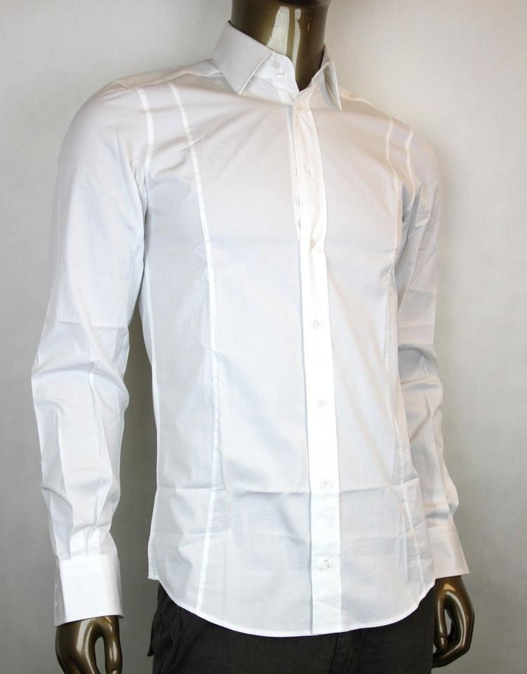 aa8120e84 Gucci White Men's Button-down Dress Fitted 44/17.5 307674 9000 Shirt ...