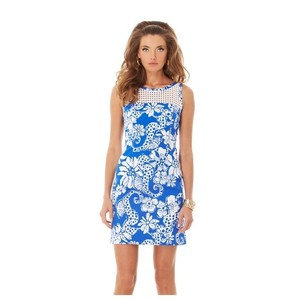 Lilly Pulitzer short dress Blue & White Resort Sleeveless on Tradesy