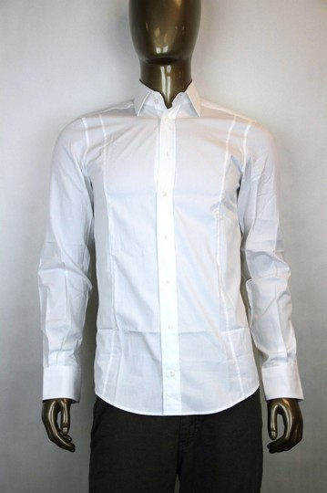 Gucci White Men's Button-down Dress Fitted 47/18.5 307674 9000 Shirt