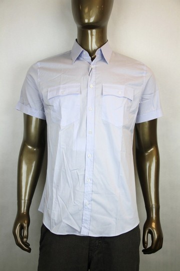 Gucci Blue Men's Sleeve Skinny with Pockets 16.5 337710 4850 Shirt