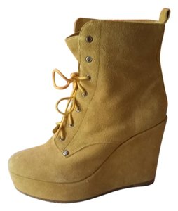 Ego and Greed Platform Wedge Bootie Skinny Yellow Wedges