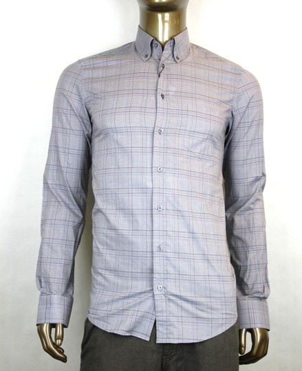 Gucci Multi-color Men's Classic Dress Blue Gray Orange Check 15 333757 4201 Shirt