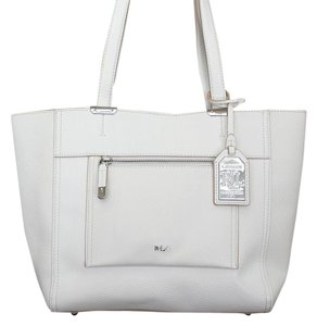 Ralph Lauren Leather New Tote in Optic White
