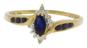 Other Sapphire & Diamond Halo Flower Ring - 14k Yellow Gold