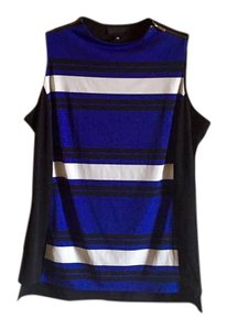 Worthington Zipper Form Fitting Striped Top royal blue, white, black