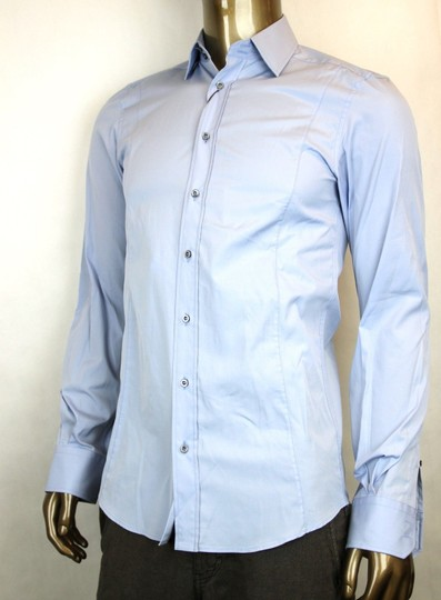 Gucci Blue Men's Cotton Dress Fitted 17 307674 4910 Shirt