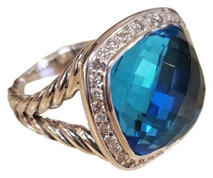 David Yurman David Yurman Albion Ring with Blue Topaz and Diamonds