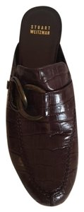Stuart Weitzman Studded Crocodile Slingback Chocolate Brown Mules