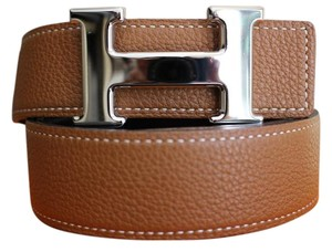 Herms 32/90CM CLEARANCE SALE AUTH.HERMES BELT KIT SILVER BUCKLE