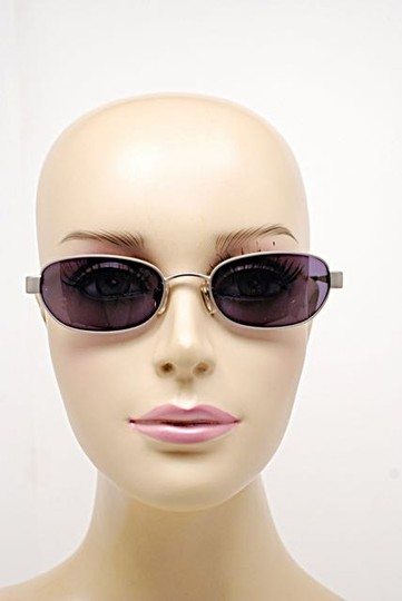 Chanel CHANEL Brushed Silver Oval Sunglasses w/Blueish Gray Lens