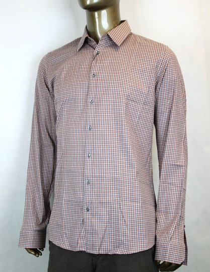 Gucci Multi-color Men's Dress Slim Fit Orange Gray Check 15 307648 7577 Shirt
