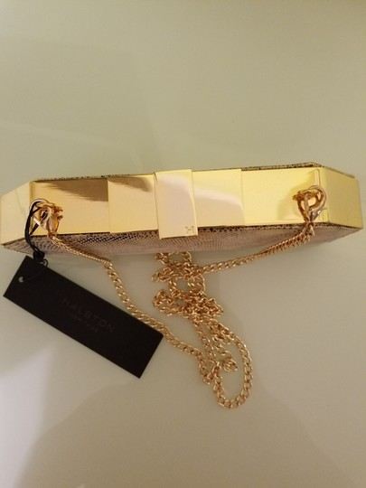 Halston Frame Chain Gold Clutch
