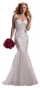 Maggie Sottero Ivory Lace & Sheer Overlay 84119 Usa02129 3ms760+ivory+8 3fs Vintage Wedding Dress Size 4 (S)