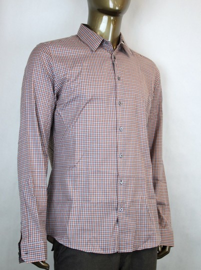 Gucci Multi-color Men's Dress Slim Fit Orange Gray Check 43/17 307648 7577 Shirt
