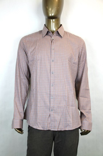 Gucci Multi-color Men's Dress Slim Fit Orange Gray Check 39/15.5 307648 7577 Shirt