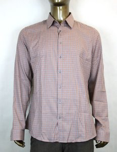 Gucci Multi-color Men's Dress Slim Fit Orange Gray Check 44/17.5 307648 7577 Shirt