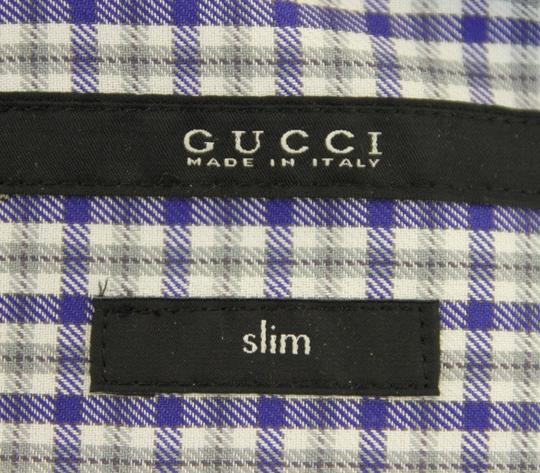 Gucci Multi-color Men's Dress Slim Fit Blue Gray Check 15.5 307648 4640 Shirt