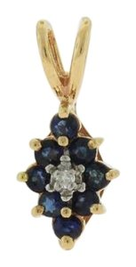 Other Flower Diamond Blue Sapphire Pendant Necklace, 10k Yellow Gold