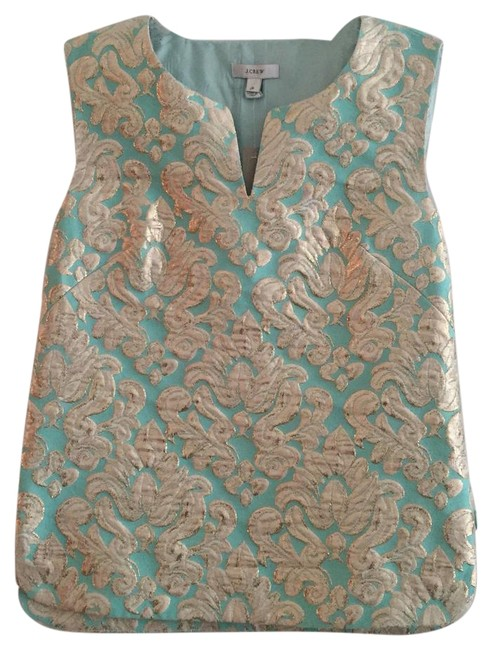 Preload https://img-static.tradesy.com/item/19646683/jcrew-minty-green-and-gold-night-out-top-size-0-xs-0-1-650-650.jpg