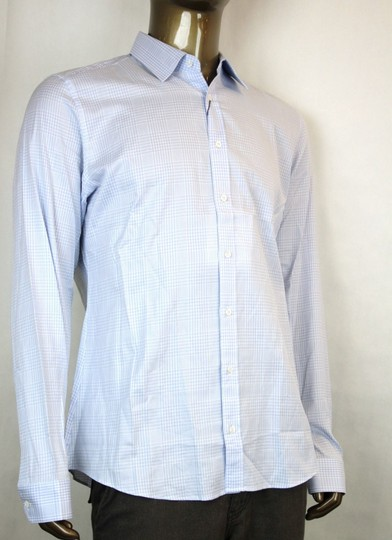 Gucci Blue Men's Dress Slim Fit White Check 17.5 307648 4850 Shirt