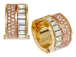 Michael Kors Rose and Clear Pave Crystal Barrel Huggie Earrings