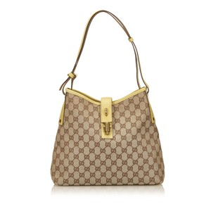 Gucci Brown Fabric Jacquard Shoulder Bag