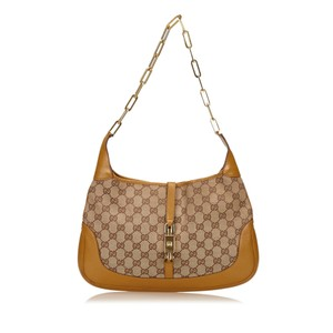 Gucci Beige Brown Fabric Shoulder Bag