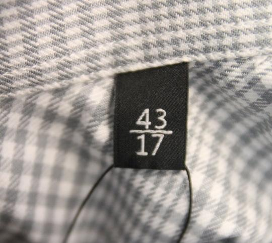 Gucci White/Gray Men's Dress Slim Fit Check 17 307648 1542 Shirt