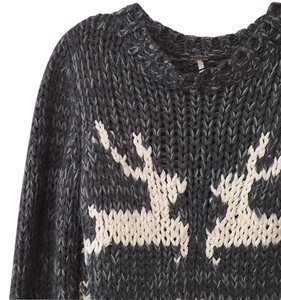Free People Reindeer Cable Knit Holiday Cozy Sweater