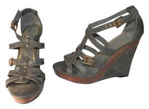 Elle Strappy Wood Detail Grey Wedges
