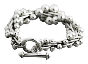 Double Helix, Silver Sterling, Toggle Clasp Bracelet