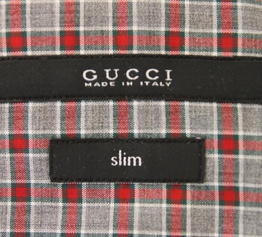 Gucci Multi-color Men's Dress Slim Fit Red Green Gray Check 15 307648 3163 Shirt