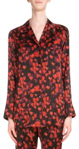 Givenchy Pajama Style Silk Exclusive Button Down Shirt Black / Red Multi