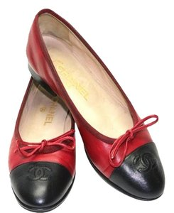 Chanel Red and Black Flats