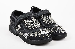 Dior Christian Mesh Rhinestone Beaded Slip On Fusion Sneakers Black Athletic