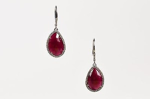 Other 14k White Gold Teardrop Ruby Diamond Embellished Dangle Earrings