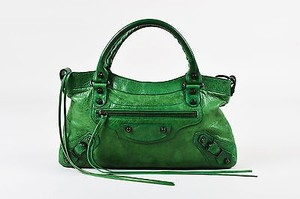 Balenciaga Distressed Lambskin Leather Classic First Satchel in Green