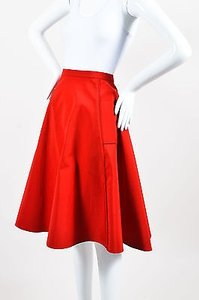 Lanvin Blend Grosgrain A Line Skirt Red