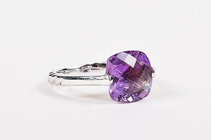 David Yurman David Yurman 18k White Gold Cushion Cut Purple Amethyst Ring