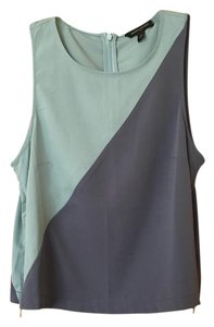 Banana Republic Tank Shirt Zip Zipper Top Blue