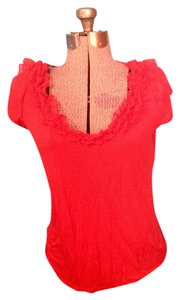 H&M Ruffles H And M T Shirt Red