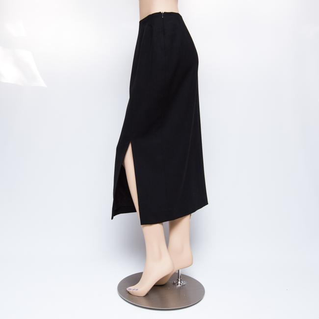 Doncaster Wool Front Slit Mid-weight Straight Cut Maxi Skirt Black