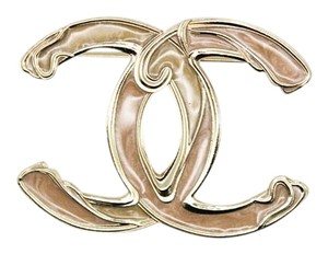 Chanel WAS $500 #8770 XL gold CC enamel plated cloud brooch