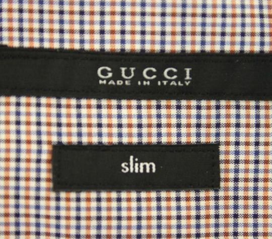 Gucci Multi-color Men's Dress Slim Fit Blue Red Mini Check 15 307648 7581 Shirt