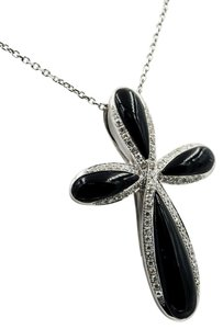 Other 3.75CT T.W. BLACK AGATE & .33CT DIAMOND CROSS PENDANT NECKLACE