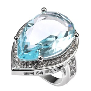 Ladies Extra Large CZ Pear Shaped Aquamarine Halo Cocktail Ring