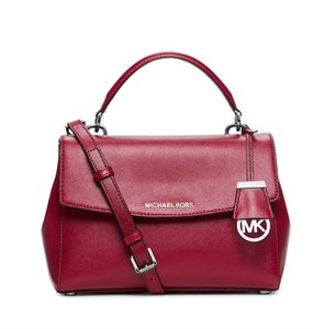Michael Kors New Leather Cherry Red Silver Satchel in Cherry/Red