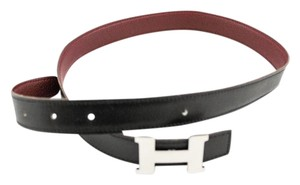 Herms 24Mm Silver H Size 75 Reversible Belt Black on Dark Red